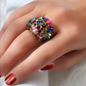 🆕🍾Bright colorful rhinestone cocktail ring gold